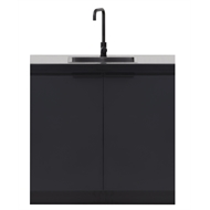 AlfrescoPlus Grey BBQ Modular Sink Cabinet - Double Black Onyx