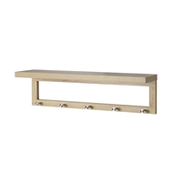 Flexi Storage 760 x 200 x 210mm Oak Coat Shelf With Hooks