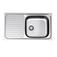 Radiant R110 Single End Bowl Sink (Right Hand Bowl, 1 Tap Hole)