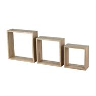 Flexi Storage Oak Wall Cubes - 3 Pack