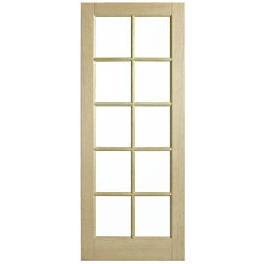 Corinthian Doors 620 X 2340 X 40mm Blonde Oak Awo 40 Clear Glass Entrance Door