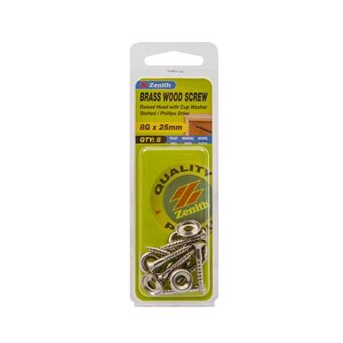"""pack 25 Nickel plated brass woodscrews raised head screws No.8 x 1/"""" 4 x 25mm"""