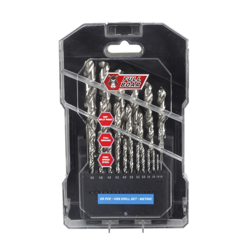 25PC Full Ground Drill Bit Set