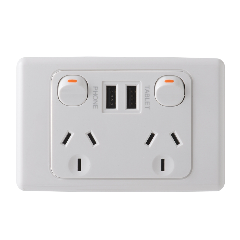 Deta 240v 10 Amp Double Outlet Powerpoint With Dual 3 4 Amp Usb Charger